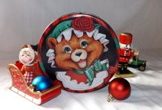 cute round Christmas bear or Fox in green by NostalgicByNature, $8.00