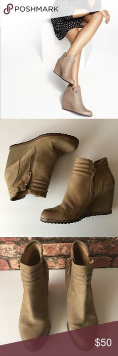 Biala Ashton Wedge Ankle Booties The perfect taupe leather color wedge booties to add to your wardrobe. Pairs well with dresses, skirts. Inner zip close. Pants and jeans. Gently worn, minor wear (See photos). In great condition. Heel 3.5in Biala Shoes Wedges