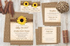 Rustic sunflower burlap and lace wedding invitation set. Perfect for a summer or fall wedding. This unique set features a wood look embellishment with the yellow sunflower.  See more here: http://lemonleafprints.com/wedding-invitation-rustic-sunflower-burlap-lace-wood.html