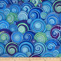Kaffe Fassett Spiral Shells Cotton Fabric Blue