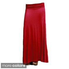 Tabeez Women's Stretch Fold-over Waist Maxi Skirt