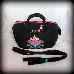 Handmade by Judy Majoros - Knitted embroidered beaded handbag-crossbody bag-shoulder bag. Recycled bag. pink-black
