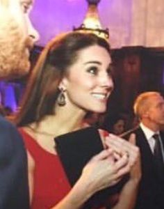 Kate Wears what looks like the same earrings as the ones worn on her 26th birthday with a red Preen dress at Private Royal Foundation Fundraiser