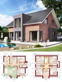 Einfamilienhaus Neubau modern mit Klinker Fassade & Satteldach Architektur mit Querhaus - Haus bauen Grundriss Fertighaus Evolution 152 V2 Bien Zenker Hausbau Ideen - HausbauDirekt.de