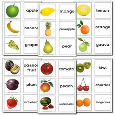 Zelf Ned. tekst toevoegen! Fruit from around the world - Matching Cards