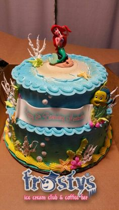 Little mermaid ice cream cake 2 tier  Isabella's 5th birthday cake. Frostys did fabulous job.