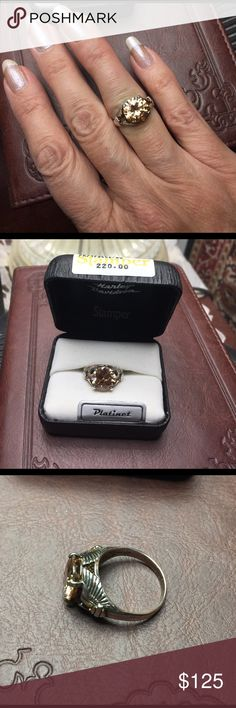 Harley Davidson Platinet Ring. Size 6. New. Gorgeous topaz colored stone. New. Size 6.  Harley Davidson by Stamper. Made of platinet, which is a mix of platinum and Sterling silver. Harley-Davidson Jewelry Rings