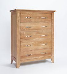 SHERWOOD Oak Chest 5 Drawer Chest Of Drawers