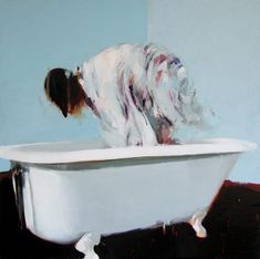 "Alex Kanevsky ""Bathroom with Motion"" 36 x 36, oil on wood"