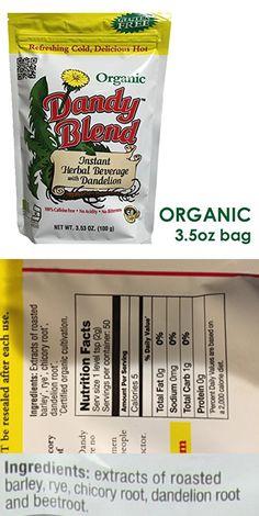 Dandy Blend Instant Herbal Beverage with Dandelion - Organic oz grams) Pkg Daily Facts, Instant Coffee, Dandy, Herbalism, Dandelion, The 100, Beverages, Organic, Herbal Medicine