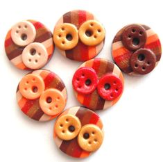 Items similar to Buttons Striped Fall Doodles handmade polymer clay buttons ( 6 ) on Etsy Polymer Clay Miniatures, Polymer Clay Charms, Handmade Polymer Clay, Biscuit, Polymer Project, Shortbread Recipes, Quick Easy Meals, Cocoa, Polymer Clay