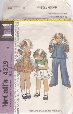 70s Chic Tulip Bodice Toddler Dress Ruffles Shoulders Tunic Pants Sleeveless Size 2 Breast 21 Vintage Sewing Pattern McCalls 4319 Complete