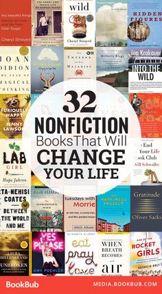 32 Nonfiction Books That Will Change Your Life 32 inspirational nonfiction books for adults that will change your life. This list includes some of the best nonfiction books for adults, including a mix of history and science books. Book Club Books, Book Nerd, Book Lists, My Books, Books To Read In Your 20s, Best Books To Read, Books To Read 2018, Best Books Of All Time, Book Suggestions