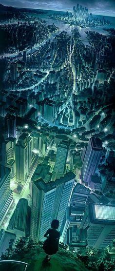 digital art / sci fi cityscape / future city / tall buildings / skyscrapers / city lights / fantasy