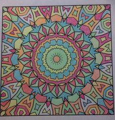 Used my neon pencils from Crayola. Freebie printout: Happy Coloring 4: Geometric Kaleidoscopic Patterns Vol. 4