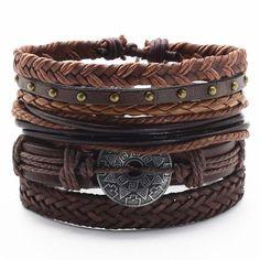 Mayan Calendar Charm Dark Brown Braided Leather Bracelet Stackable Set