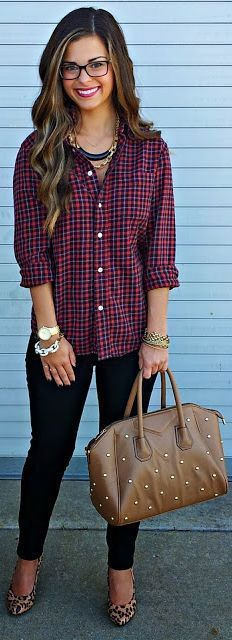 Love the plaid shirt and overall look. Heels are awesome and unexpectedly work with the outfit!