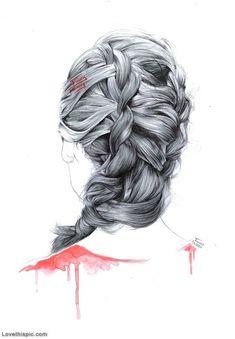 Sketch of Hair Braids hair girl art cool drawing sketch illustration hairstyle hair ideas