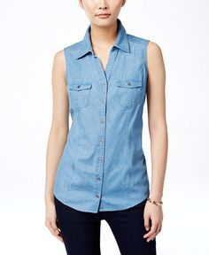 Style & Co. Sleeveless Denim Shirt, Only at Macy's