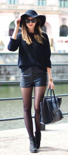 Barbora Ondrackova is wearing a sweater from American Apparel, shorts from H&M , boots from Vagabond, black felt fedora hat from Choies and a bag from Celine. more here