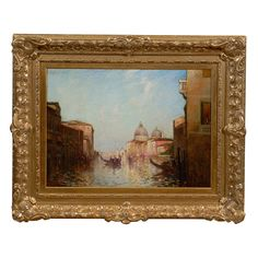 "Large Venetian Landscape Painting, Signed ""Eliot Clark""  American  Early 20th Century  A large gilt wood framed oil on canvas venetian landscape painting, signed ""Eliot Clark"""