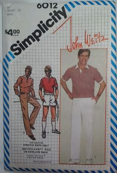 Simplicity Men's John Weitz Athletic  sewing  pattern chest 42 Waist 36  New #Simplicity