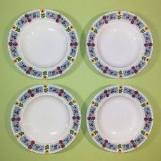 Set of 9 Mikasa Studio Nova Soup Cereal Salad China Bowls French Country Blue Gingham Fruit Sunflower Design Breakfast Tableware EUC