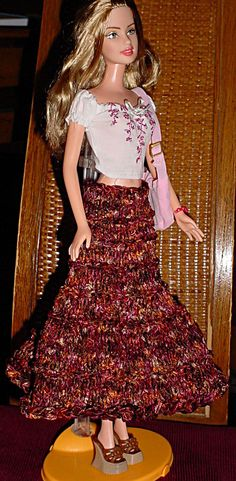 Barbie Prairie Skirt Knitting Pattern