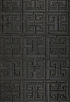 Wallcovering / Wallpaper | Greek Key Sisal in Jet | Schumacher