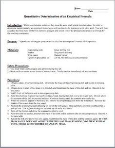 Empirical formula determination lab