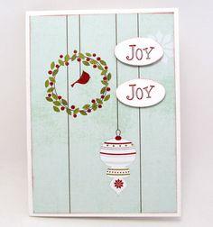 Joy Christmas Card - Christmas Greeting Card - Soft Turquoise and Red - Red Bird - Holiday Card - Blank Card - Christmas Wreath - Cardinal