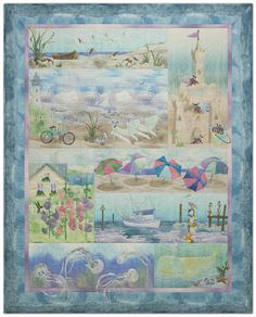 """working on a block of this quilt for the beach house called """"Sunblock"""" the one with all the umbrellas"""