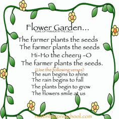 Gardening Lesson Plan Theme - preschool gardening and growing unit ideas.One complete theme, songs, finger plays, art project ideas, science and more. April Preschool, Preschool Garden, Preschool Music, Preschool Themes, Preschool Lessons, Preschool Classroom, Spring Songs For Preschool, Seeds Preschool, Montessori Elementary