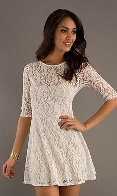 Short off white lace dress