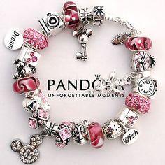 Authentic Pandora Bracelet Pink Love Mickey Mouse Wish Crystal Murano Charm Bead
