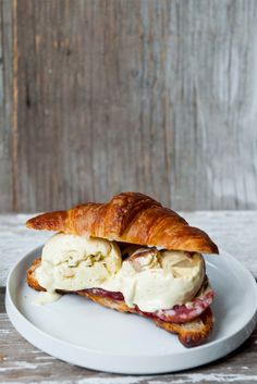 Blue Cheese And Pear Ice Cream Croiswich With Soppresata Slices And Rhubarb Butter Spread Vanilla Bean Ice Cream, Ice Cream Flavors, Danish Blue Cheese, Blue Cheese Butter, Rhubarb Butter, Charcuterie Platter, Butter Spread, So Little Time, Sweets