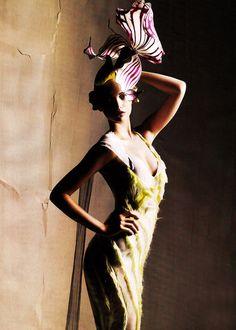 Gemma Ward in Nina Ricci & Philip Treacy | Ph. by Mario Sorrenti | Harper's Bazaar November 2007