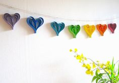 Rainbow Paper Hearts Valentine's Day Garland by Paint Robot - modern - holiday decorations - by Etsy