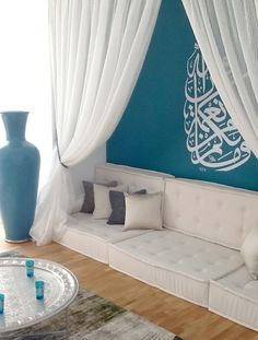 #MuslimhomeSA Arabian style lounge with modern colour, finished off with Wall art Sticker! #Lovely #Decor #Arabic