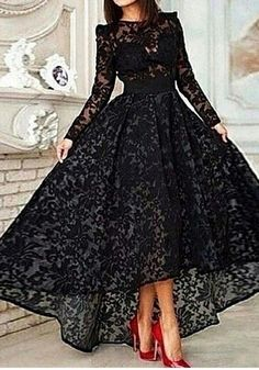 High-low Black Lace Prom Dress,Lace Evening Party Dress,Lace
