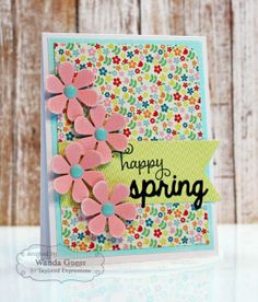 Happy Spring Card by Wanda Guess #Cardmaking, #Easter, #Spring