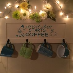 Coffee cup hanger with quote in oracle 651 vinyl. Prefect way to display your love for coffe. Definitely a must for every coffee lover. All your friends will love it!! Solid piece of wood/up cycle cabinet door. Comes with hanging brackets already on back of board. Also comes with the cup hangers. (Cups, lights and flowers not included) | Shop this product here: http://spreesy.com/Amazngraphix/2 | Shop all of our products at http://spreesy.com/Amazngraphix | Pinterest selling powered by…