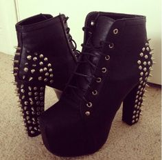 """Black Boots With Spikes Along 3"""" Heel"""