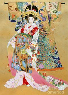 Japanese Geisha Kogane by Haruyo Morita Art Geisha, Geisha Kunst, Geisha Japan, Japanese Geisha, Japan Illustration, Botanical Illustration, Art Chinois, Art Asiatique, Cross Stitch Pictures