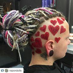 Love is in the hair 😃 Undercut Hairstyles, Cool Hairstyles, Dreads, Undercut Hair Designs, Shaved Hair Designs, Hair Patterns, Hair Tattoos, Coloured Hair, Wild Hair