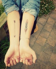 Arrow and Feather Tattoos for Women