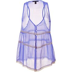 Kiki de Montparnasse Periwinkle Crinkle Silk Chiffon Top Le Reve ($142) ❤ liked on Polyvore featuring tops, shirts, tank tops, tanks, sheer camisole, sheer button-down shirts, purple shirt, button shirt and see through tank tops