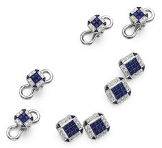 SAPPHIRE AND DIAMOND DRESS SET.  Comprising a pair of cufflinks and four studs, the octagonal links decorated in the center with square-cut sapphires bordered by round diamonds, the corners accented with calibré-cut sapphires, the total diamond weight approximately 1.60 carats, mounted in platinum