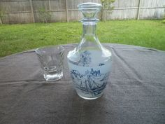 Liquor Decanter Frosted Blue from France Vintage