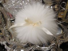 Lovely wool powder puff with Ivory Satin bows. Handmade in the USA Free Shipping